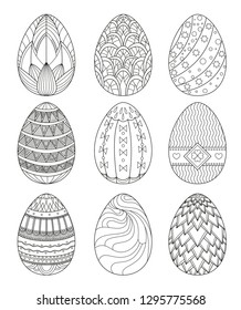 Set of Easter eggs with geometric patterns. Coloring book for children. Stencils. Vector