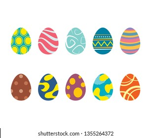 Set of easter eggs isolated in white background. Vector modern new design with different colors and patterns.