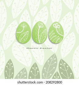 Set of Easter eggs on the plant seamless background.