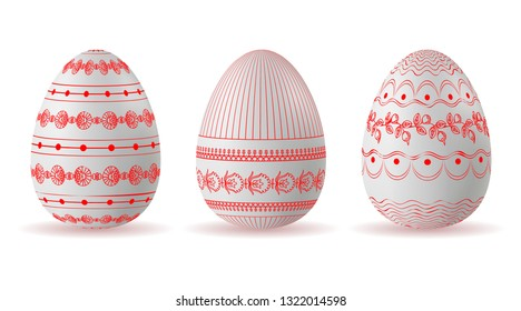 set of Easter eggs with a pattern of lines, dots and red colors. Vector.