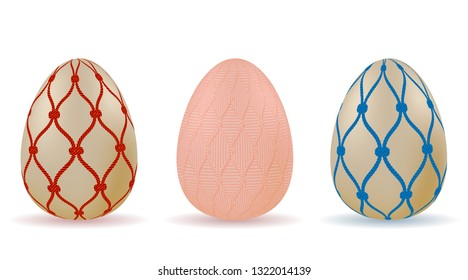 set of Easter eggs with a pattern of red and blue rope nets. Vector.