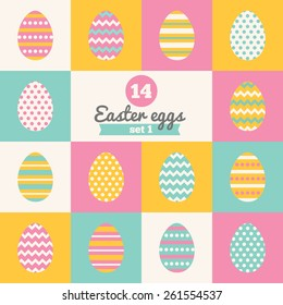 Set of Easter eggs with Stripes, Polka Dot and Chevron Patterns in Pink, Yellow, Blue and White. Perfect for greeting cards, invitations. Vector illustration in flat design