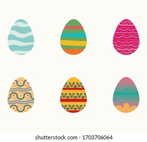 set of easter eggs, vector illustration