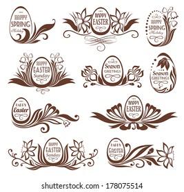 Set of easter floral frames with felicitations