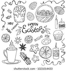 Set of easter food isolated on white background. Basket with colored eggs, glazed cake, candle, cup, biscuit, orange, spices. Vector illustration. Perfect for coloring book, greeting card, print.