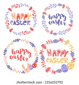 """Set of easter frame. a round frame of flowers with a rabbit. Easter background. Festive background with the inscription """"Happy Easter""""."""