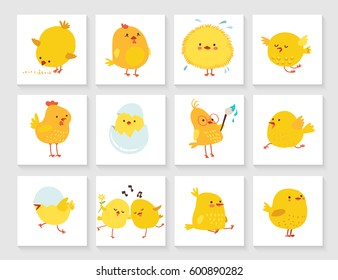 Set of easter greeting card for kids with chick