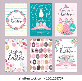 Set of Easter greeting cards and invitation for Easter egg hunt party designs in cute hand drawn style with florals, flowers,eggs, hand painted textures and bunny rabbits