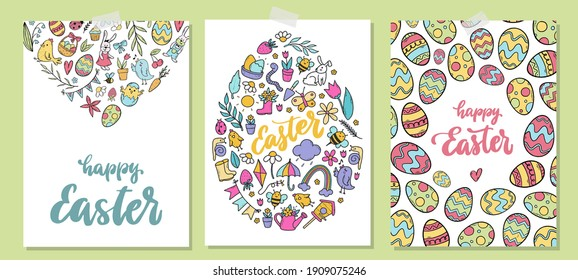 set of easter greeting cards and posters decorated with hand drawn doodles and lettering quotes. Good for invitations, prints, templates, etc. EPS 10