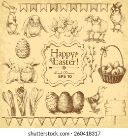 Set of Easter Hand drawn design elements