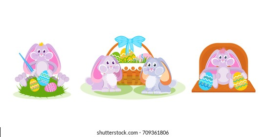 Set of easter hares: a hare paints eggs with a brush, a pair of hares near a basket, decorative ornaments. Vector illustration isolated for the holiday of Easter.