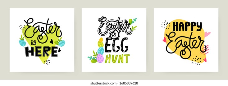 Set of Easter holiday ad lettering elements. Vector text design for greeting and advertising products.