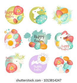Set of Easter icons and stamps. Happy Easter icons with bunny, eggs and flowers. Easter holiday celebration concept illustration.