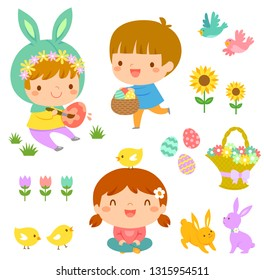 Set of Easter illustrations with cute kids, animals and flowers