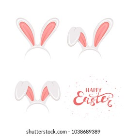 Set of Easter mask with pink rabbit or bunny ears isolated on white background. Lettering Happy Easter, illustration.
