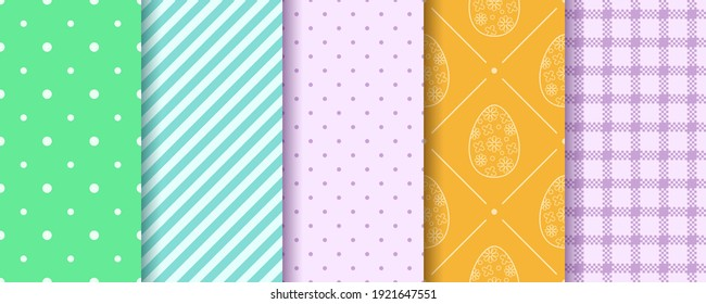 Set of Easter seamless Patterns in blue, orange, green, violet. Pattern design set with Eggs, Gingham, Polka Dot and Stripes. Endless texture for web, picnic tablecloth, wrapping paper.