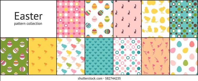 Set of Easter seamless patterns. Tiling fabric background with painted eggs, chickens, rabbits, tulips and dots. Holiday wrapping paper, vector texture. Pattern swatches included in the Swatches panel