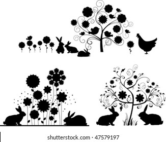 Set of Easter silhouettes. Vector illustration scale to any size. All elements and textures are individual objects.