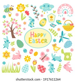 Set of Easter spring elements isolated on white background. Vector flat eggs, chicken, butterfly, rabbit, tulips, flowers, willow, branches, basket, narcissus. Design for holiday decoration, card