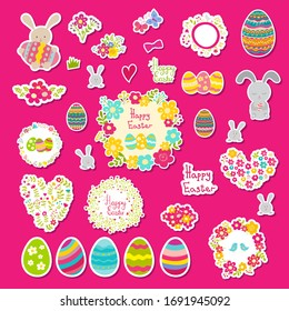 Set of Easter stickers: eggs, rabbit, flowers. Cute cartoon illustrations. Can be used for messengers, blogs, post in social society, greeting card, poster