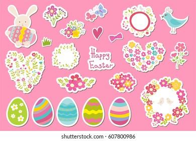 Set of Easter stickers: eggs, rabbit, flowers. Cute cartoon illustrations.