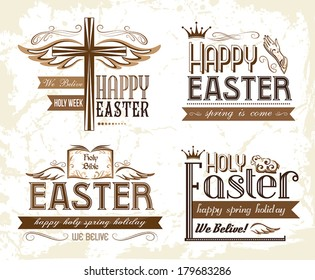 Set of easter typography emblems