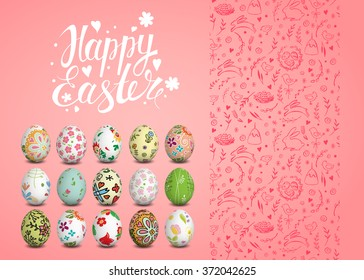 Set of Easter vector seamless pattern, realistic isolated eggs and handwritten inscription. Hand drawn elements.  Sketch chicken, rabbit, cake. Typography. Lettering.