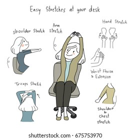 Set of easy stretching exercises at office such as shoulders, arms, hands, wrists, chest exercises. Cute woman in business attire sitting at her desk and stretching her arms in the air.