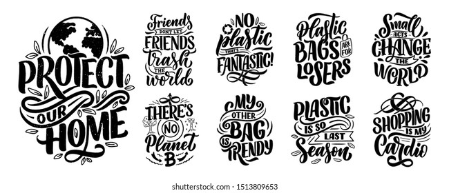 Set with Eco bag prints for cloth design. Retail advertising. Lettering quotes for environment concept. Organic design template. Typography vector illustration.