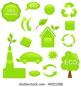 Set ECO and BIO elements. Symbols and buttons on ECO theme for Your design