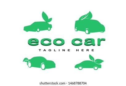 Set ECO car logo design,simple and minimalist