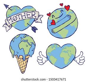 A set of eco earth badges or symbols. Hand drawn vector illustrations.