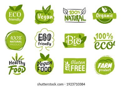 Set of eco friendly green badges design. Collection of vegan ,bio, organic food, gluten free, and natural products labels. Eco stickers for labeling package, food, cosmetics. Hand drawn style.