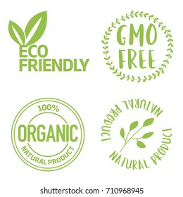 Set of eco friendly and organic labels. Gmo Free food labels for products packaging. White text green vector illustration