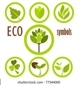 Set of eco icons and symbols in circles. Vector logo illustration