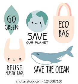 Set of Eco illustration elements and handwritten letters. No plastic, save the ocean, eco bag, reuse plastic bag, go green. Zero waste life slogan, typography. Vector illustration.