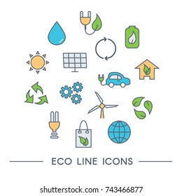 Set of Eco Line Icons: windmill, solar panel, recycling, reuse, electric car, alternative energy, clean water, green home. Vector illustration.