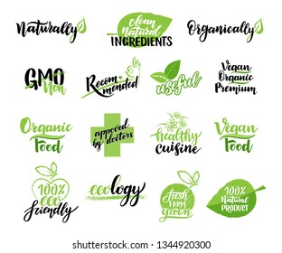 Set of eco logos, badges of vegetarian labels with icon and bio lettering. Vegetarian healthy natural organic food stickers with lettering. Organic clean food tags with lettering. Vector illustration.