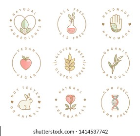 Set of eco product logos, natural organic healthy food and drink icons,labels for restaurant menu, packaging,packing.Healthy lifestyle. Handmade, gluten, sls and gmo free, not tested on animals.Vector