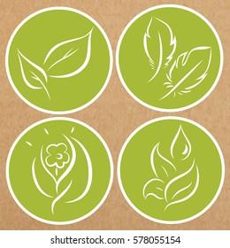Set of eco theme badges, icons, sticker layouts