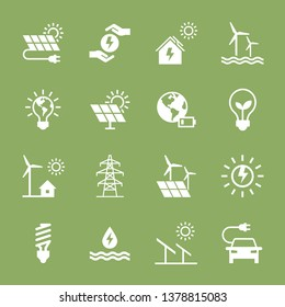 Set of eco vector icons in flat style. Eco collection with various icons on the theme of ecology and green energy. Isolated, editable and scalable icons.