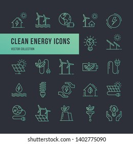 Set of eco vector icons in line style. Eco collection with various icons on the theme of ecology and green energy. Isolated, editable and scalable icons.