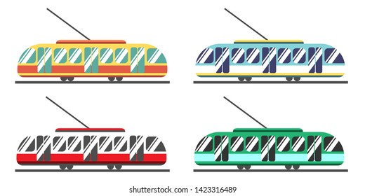 A set of eco-friendly trams of different colors. Public transport is favorable for the environment and the city. Beautiful bright colors of public transport. White background