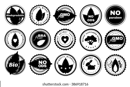 Set of ecological labels for your logotype and product design