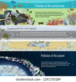 Set of ecological templates with a garbage. Problem pollution of the planet, ocean, coast. The problems with chemical wastes disposal. Stop plastic pollution, vector illustration. The concept of ecolo