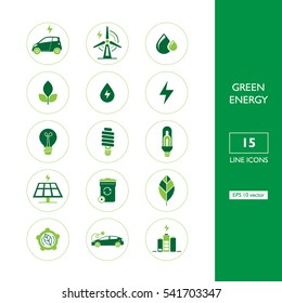 Set of ecological two color icons. Eps 10 vector. Collection of green energy icons.