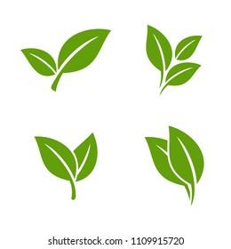 Set Ecology Green Leaf Vector Logo Template