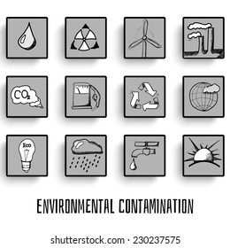 Set of ecology hand-drawn icons doodles vector