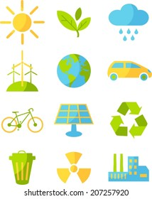 Set of ecology icons in flat colorful style