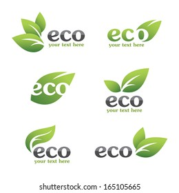 Set of ecology icons with green leaves in vector